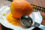 Raw chia seeds and orange zest
