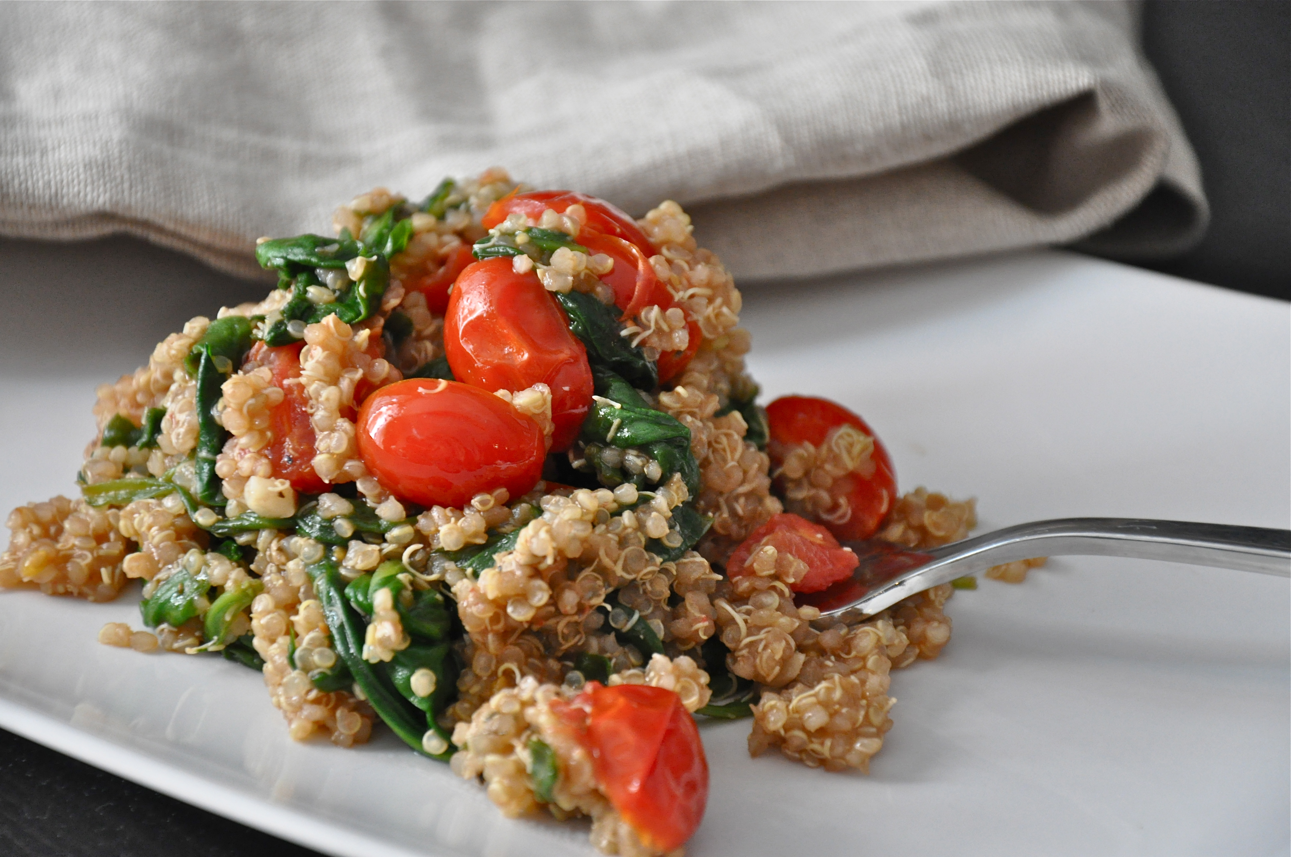 Balsamic Quinoa With Saut 233 Ed Spinach Tomatoes And Garlic