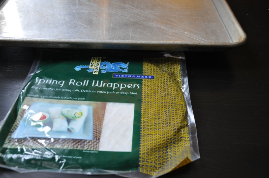 Prepare the spring roll wrappers to instruction.